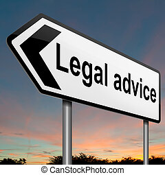 Legal advice - Illustration depicting a roadsign with a...
