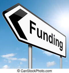 Funding concept - Illustration depicting a roadsign with a...