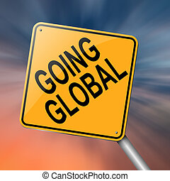 Going global. - Illustration depicting a roadsign with a...