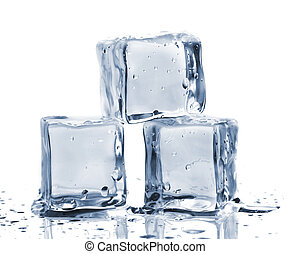 Three ice cubes on glass table Isolated on white