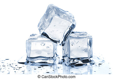Three melting ice cubes on glass table On white background