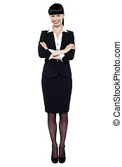 Charming business executive in formal attire - Full length...