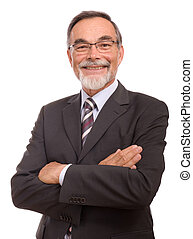 senior businessman smilin - Mature adult senior businessman...