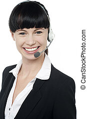 How can I help you today - Modern girl with headset on...