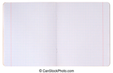 White squared paper sheet isolated over white background