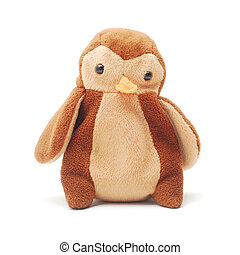 plush toy penguin isolated on white