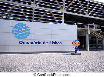 Entrance and signboard of Oceanarium, Lisbon, Portugal -...