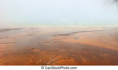 Steam from Grand Prismatic Spring - Billows of steam obscure...