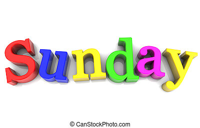 Sunday, day of the week multicolored over white Background