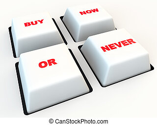 Button By now or never, over white background