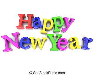 Multicolored Happy New Year over white Background