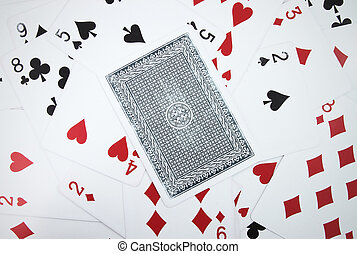 Card with playing cards background