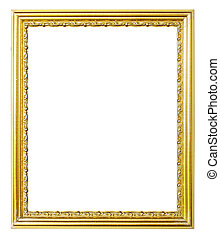 golden picture frame on white background