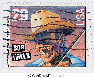 USA - CIRCA 1997 : stamp printed in USA shows Bob Wills swing band leader, 1997