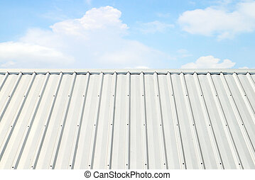 corrugated aluminum roof with blue sky