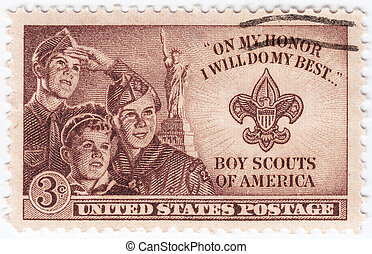 USA - CIRCA 1953 : stamp printed in USA show Boy Scouts of...