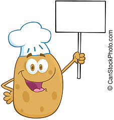 Potato Chef Holding Up A Blank Sign - Happy Potato Chef...
