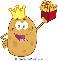 Happy Potato With Crown - Potato With Crown Holding Up A...