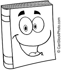 Outlined Text Book Cartoon Mascot Character