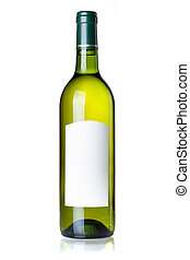 Wine collection - White wine in green bottle with blank...