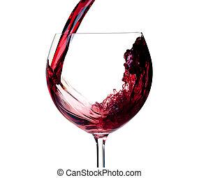 -, Colección, vidrio, vertido, rojo, vino