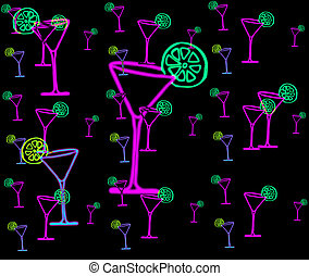 martini glass - image about pink martini glasses with green...
