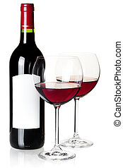 Wine bottle and glass - Wine collection - Wine bottle and...
