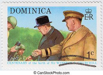NICARAGUA - CIRCA 1974 : stamp printed in Nicaragua shows Winston Churchill (C), circa 1974