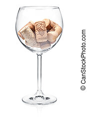 Corks in wine glass - Wine collection - Corks in wine glass...