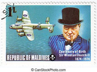 Maldives - circa 1974 : stamp printed in Maldives with a picture of Sir Winston Churchill , centenary of Birth, circa 1974