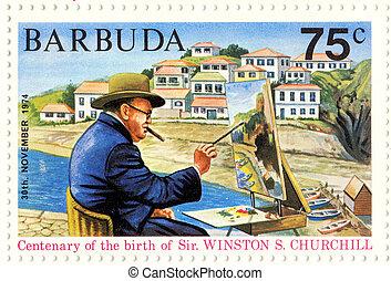 BARBUDA - CIRCA 1974 : great UK politic Winston Churchill painting picture