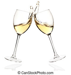 Clink glasses with white wine - Wine collection - Cheers...