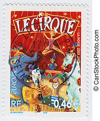 FRANCE - CIRCA 2002: stamp printed in France shows Circus,...