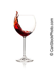 Splashing red wine in a glass