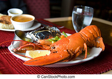 Restaurant Lobster Dinner - Stock photo of a restaurant...