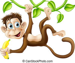 Monkey swinging with banana - A cute monkey swinging from...