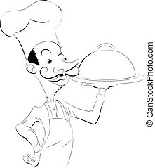 Chef illustration - A black and white illustration of a chef...