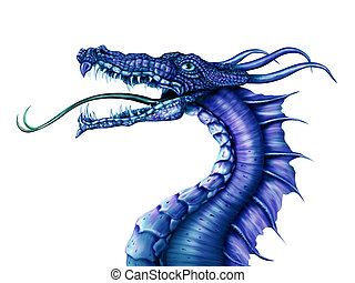 Blue Dragon - Illustration of a fierce blue dragon on a...