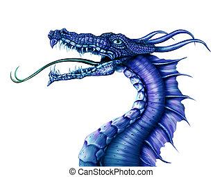 Blue Dragon - Illustration of a fierce blue dragon on a...