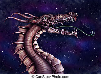 Space Dragon - Illustration of a fierce dragon with a star...
