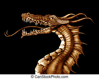 Golden Dragon - Illustration of a golden dragon on a black...