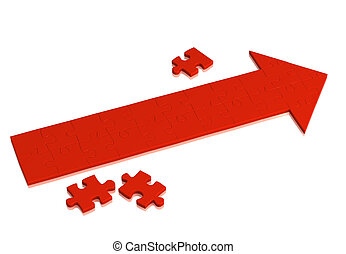 Red arrow made of pieces of puzzle. Object over white