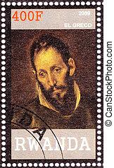 RWANDA - CIRCA 2009: Stamp printed in Rwanda shows El Greco painter, sculptor, and architect of the Spanish Renaissance, circa 2009