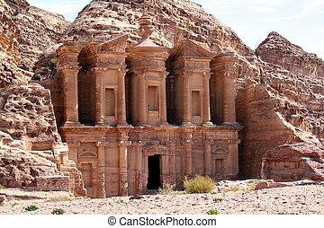Petra, Jordan - remains of an ancient temple in Petra,...