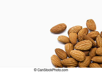 almonds - Many almonds on white background
