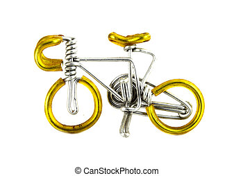 craft bicycle on white background (made from wire)