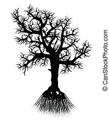 Silhouette tree with root
