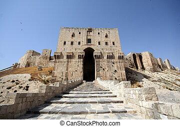 aleppo syria - citadel gate in aleppo syria