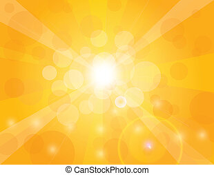 Sun Rays on Orange Background Illustration - Sun Rays on...
