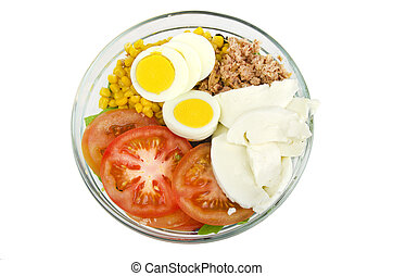 Summer Salad with lettuce,egg,tuna,co rn,tomato and...